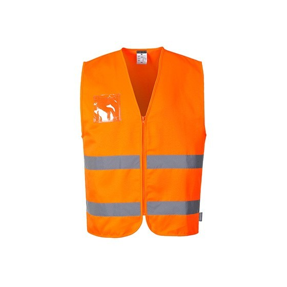 High Visibility Vest with 2 Horizontal Reflective Strips