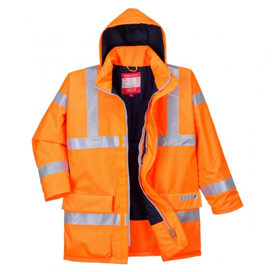 Bizflame Rain Hi-Vis Antistatic FR Jacket S778 Orange