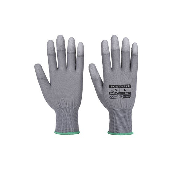 Glove with fingertips PU A121 White Grey