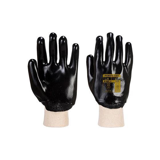 PVC gloves with elastic cuff A400 Black