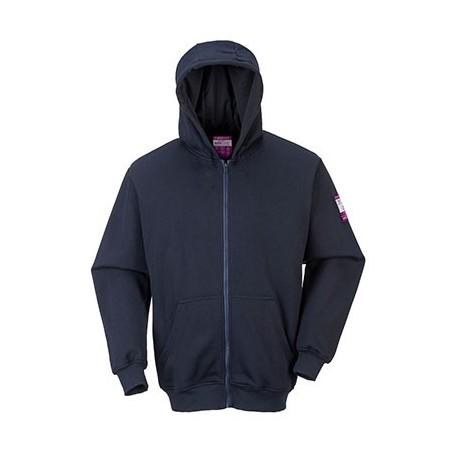 Blue FR81 Hooded Sweatshirt with Zip Closure