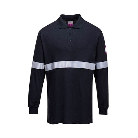 Lightweight and Antistatic Long Sleeve Polo with Reflective Tape FR03 Navy