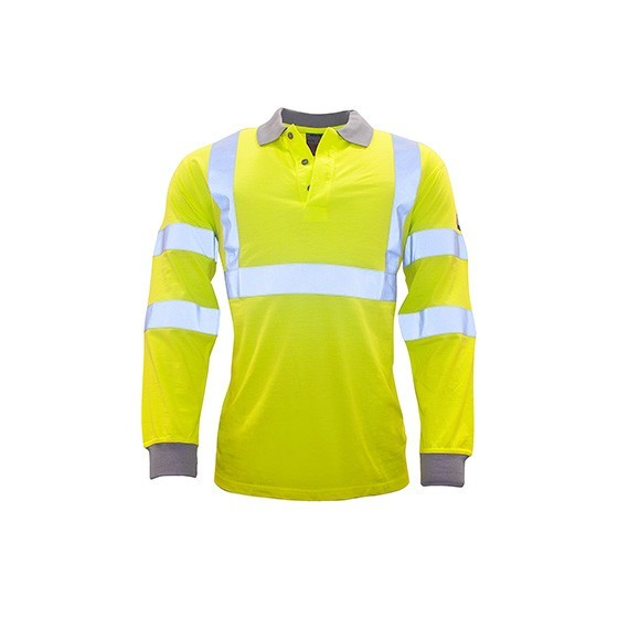 Fireproof antistatic high visibility long sleeve polo FR77 Yellow