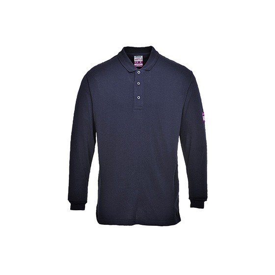 Flame-Resistant and Antistatic Long Sleeve Polo FR10 Navy