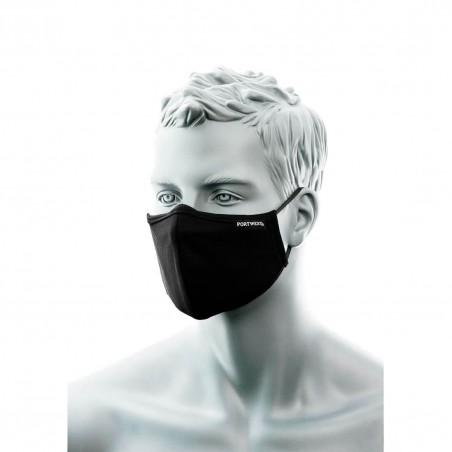 3 Layer Antimicrobial Face Mask with Nose Band (Pk25) CV35 Black (25 pack)