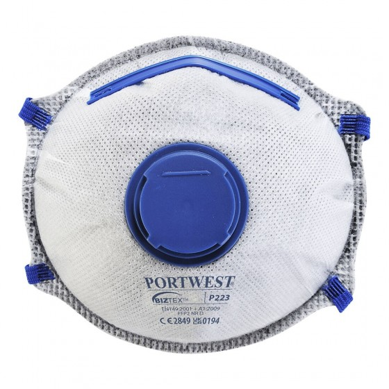 Mask with valve and activated carbon Dolomite, FFP2 P223 (Pack 10 pcs.)