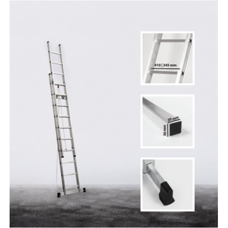 2 section rope operated extension ladder