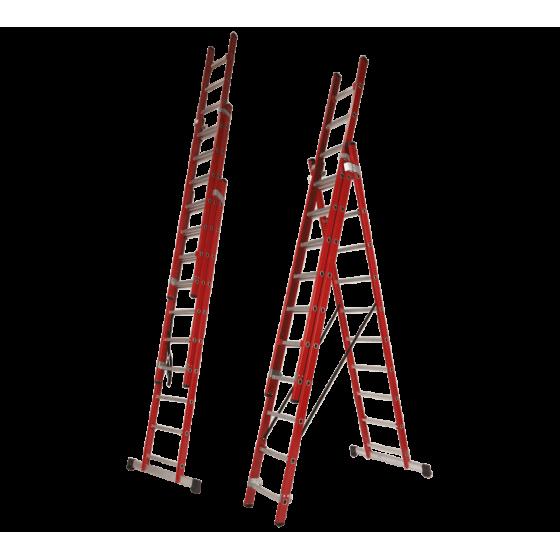 Fiberglass 3 section transformable ladder