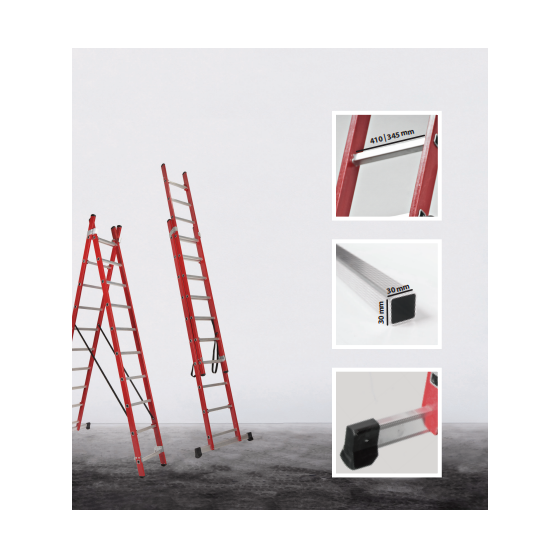 Fiberglass 2 section transformable ladder