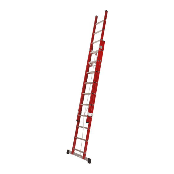 2 section rope operated fiberglass extension ladder