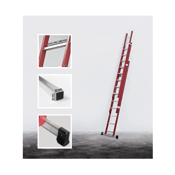 3 section rope operated fiberglass  extension ladder