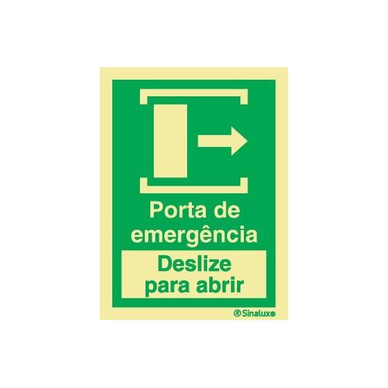 PORTA DE EMERGÊNCIA DESLIZE PARA ABRIR DIREITA