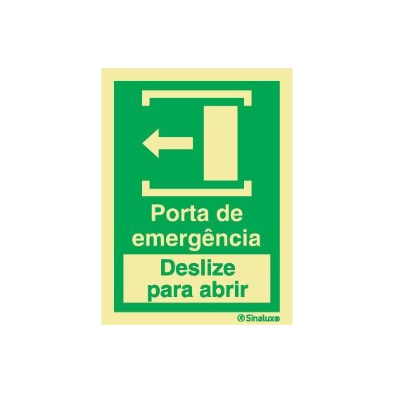PORTA DE EMERGÊNCIA DESLIZE PARA ABRIR ESQUERDA