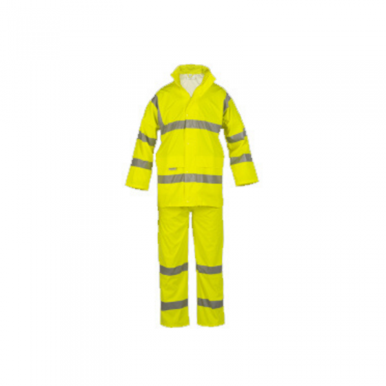Yellow High Visibility Waterproof Pu Suit with Reflective Strips