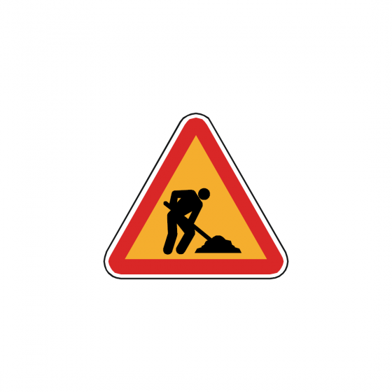 Fire extinguisher and reel sign with diagonal left arrow